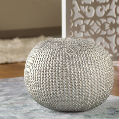 Clarkdale Modern Pouf Ottoman Upholstery: Bone with Silver Foil
