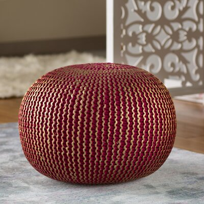 Amskroud Modern Pouf Ottoman Upholstery: Red with Gold Foil