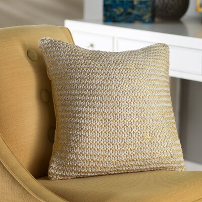 Deandra Cotton Throw Pillow Color: Bone / Gold