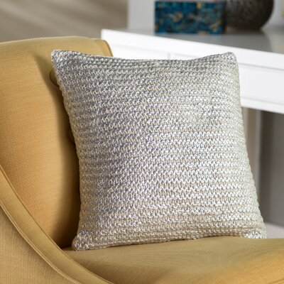 Deandra Cotton Throw Pillow Color: Bone / Silver