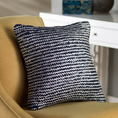 Deandra Cotton Throw Pillow Color: Navy / Silver