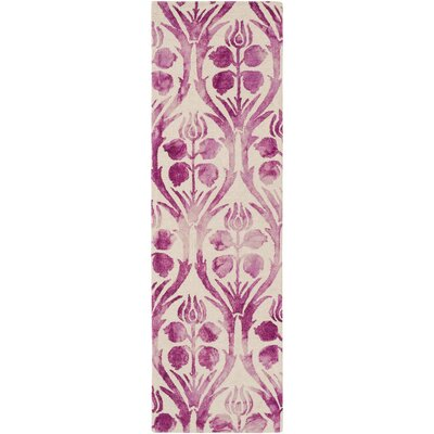 Georgina Hand-Hooked Pink Area Rug Rug Size: Rectangle 6' x 9'
