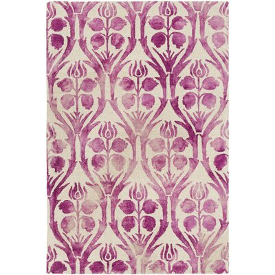 Amsterdam Hand-Hooked Pink Area Rug Rug Size: 5 x 76