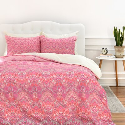 Jade Blooms Duvet Cover Set Size: King, Color: Soft Blush