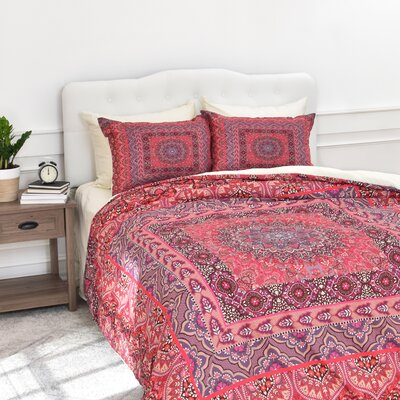Jade Squared Duvet Cover Set Size: King, Color: Red