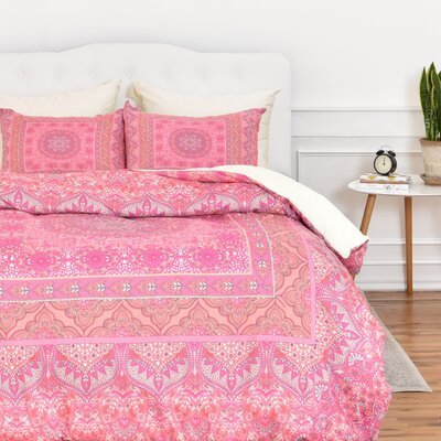 Caroline Squared Duvet Cover Set Size: King, Color: Soft Blush