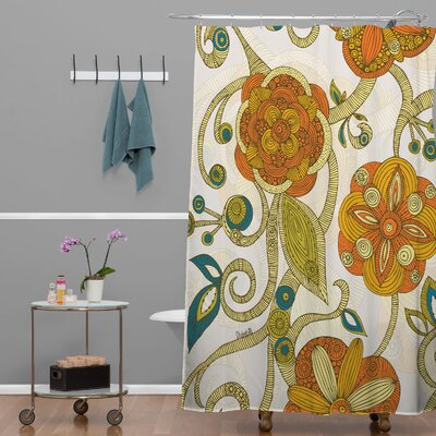 Deepak Flowers Extra Long Shower Curtain