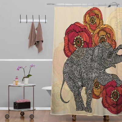 Deepak Rosebud Extra Long Shower Curtain