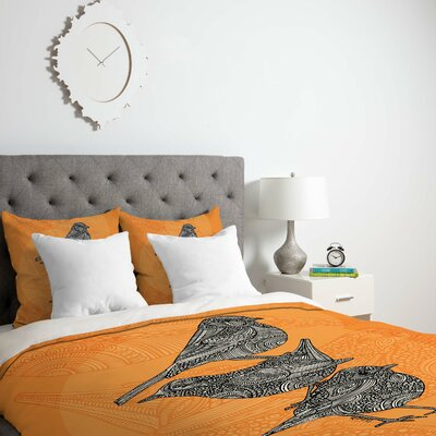 Deepak 3 Little Birds Duvet Cover Size: King, Fabric: Lightweight