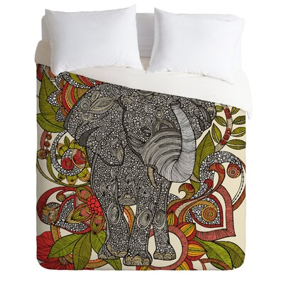Deepak Bo The Elephant Duvet Cover Size: Queen, Fabric: Lightweight