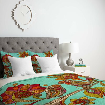 Deepak Hello Birds Duvet Cover Size: Twin, Fabric: Lightweight