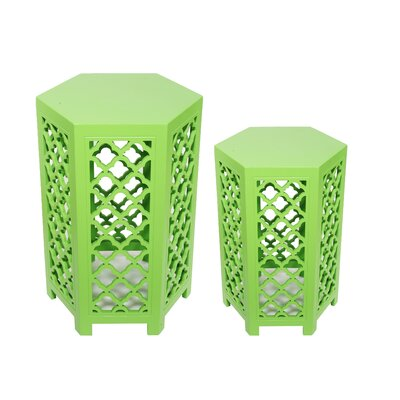 Lafia 2 Piece Coffee Tables Set Finish: Green