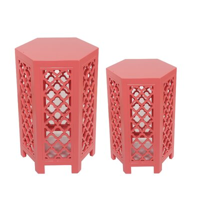 Lafia 2 Piece Coffee Tables Set Color: Pink