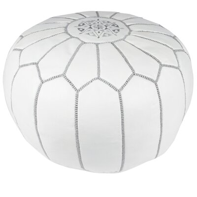Everly Embroidered Pouf Ottoman Upholstery: Grey on White