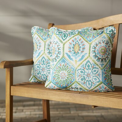 Zutphen Corded Indoor/Outdoor Throw Pillow Color: Blue / Turquoise / Coral / White