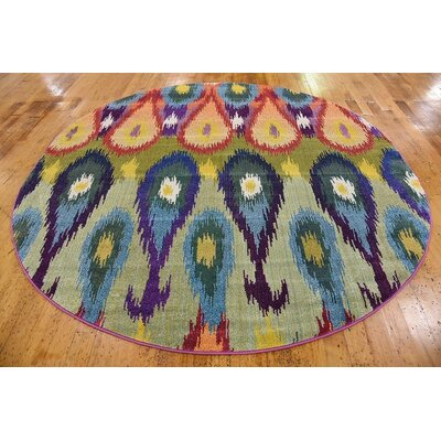 Radeema Ikat Area Rug Rug Size: Round 8'
