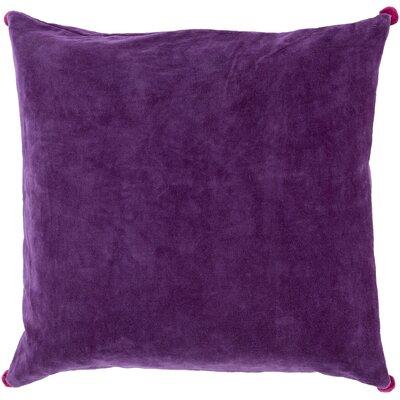 Velvet Cotton Throw Pillow Size: 18 H x 18 W x 4 D, Color: Purple, Filler: Polyester