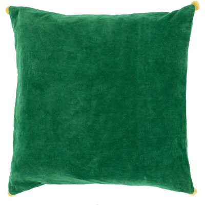 Velvet Cotton Throw Pillow Size: 18 H x 18 W x 4 D, Color: Green, Filler: Down