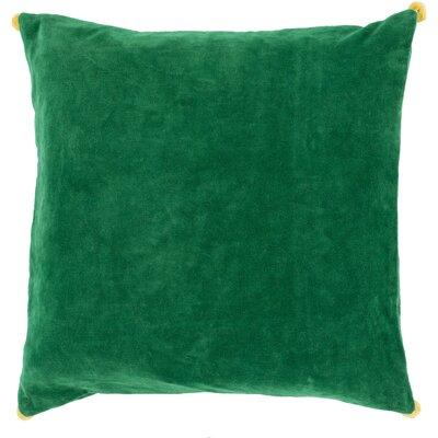 Velvet Cotton Throw Pillow Size: 22 H x 22 W x 4 D, Color: Green, Filler: Down