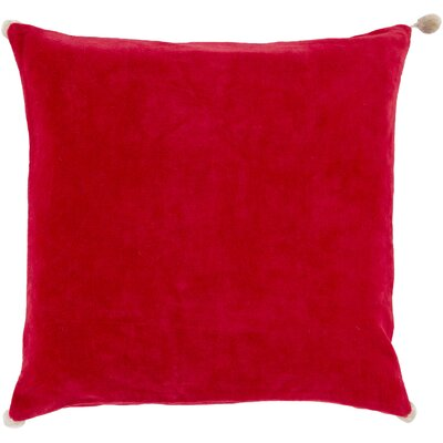 Velvet Cotton Throw Pillow Size: 22 H x 22 W x 4 D, Color: Red, Filler: Polyester