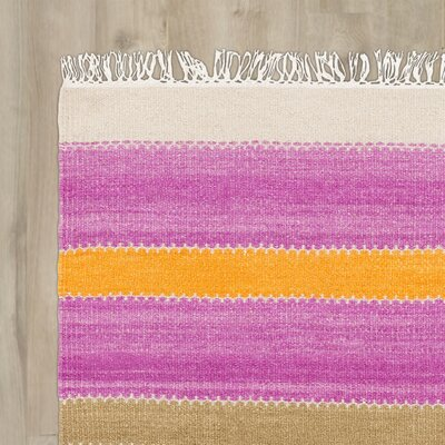 Hand-Tufted Tangerine/Magenta Area Rug Rug Size: Runner 26 x 8