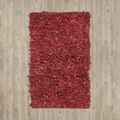 Schaefer Hand-Knotted Red Shag Area Rug Rug Size: Runner 23 x 11