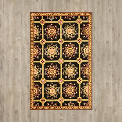 Saduak Hand-Hooked Black/Yellow Area Rug Rug Size: Rectangle 2 x 3