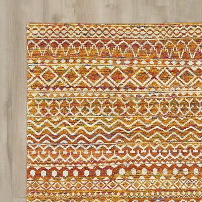 Delrico Hand-Knotted Apricot Area Rug Rug Size: Runner 26 x 8