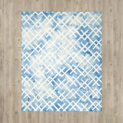 Castries Hand-Tufted Blue/Ivory Area Rug Rug Size: 9 x 12