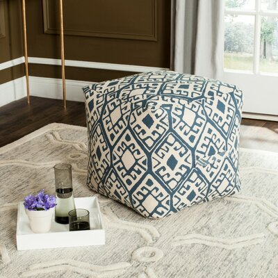Hoofddorp Pouf Ottoman Upholstery: Blue/Natural