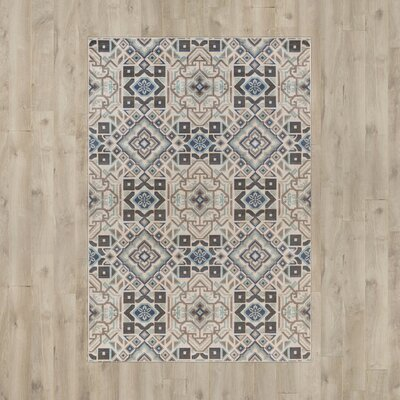 Hasselt Teal/Beige/Charcoal Area Rug Rug Size: Rectangle 68 x 98