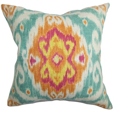 Bettembourg Ikat Throw Pillow Cover Color: Blue Orange