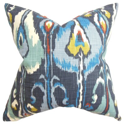 Deeanna Ikat Cotton Throw Pillow Cover Color: Blue