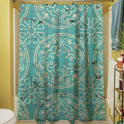 Theo Medallion Shower Curtain Color: Teal