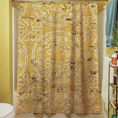 Theo Medallion Shower Curtain Color: Yellow