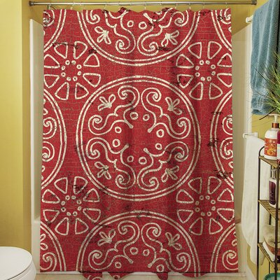 Theo Medallion Shower Curtain Color: Rust