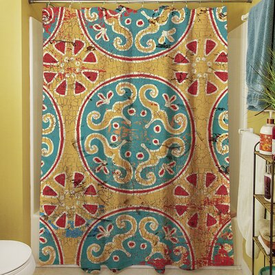 Theo Medallion Shower Curtain Color: Multi