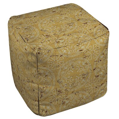 Theo Medallion Cube Ottoman Upholstery: Yellow