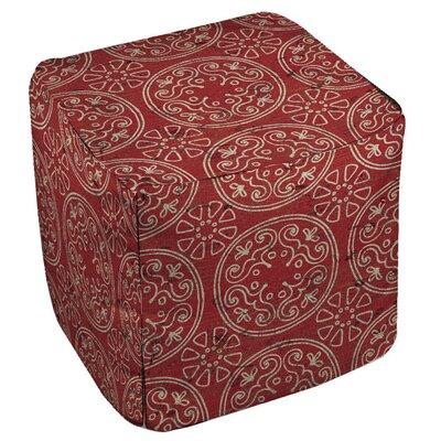 Theo Medallion Cube Ottoman Upholstery: Rust
