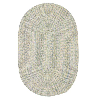 Huntington Hand-Woven Green/Gold Area Rug Rug Size: Oval 3 x 5