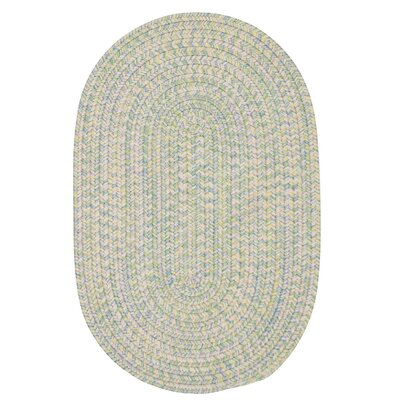 Huntington Hand-Woven Green/Gold Area Rug Rug Size: Oval 7 x 9