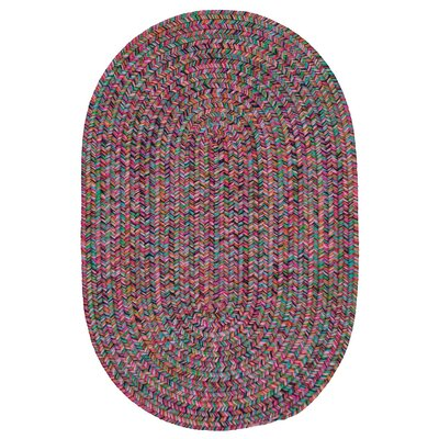 Huntington Hand-Woven Pink/Green Area Rug Rug Size: Oval 8 x 11