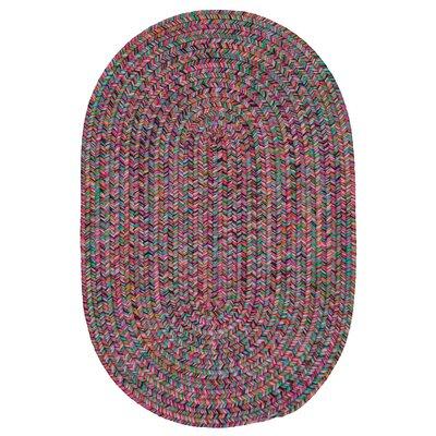 Huntington Hand-Woven Pink/Green Area Rug Rug Size: Oval 2 x 12