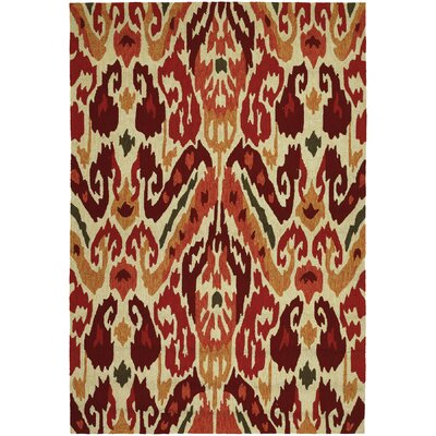 Charlot Hand-Woven Red/Beige Indoor/Outdoor Area Rug Rug Size: 36 x 56
