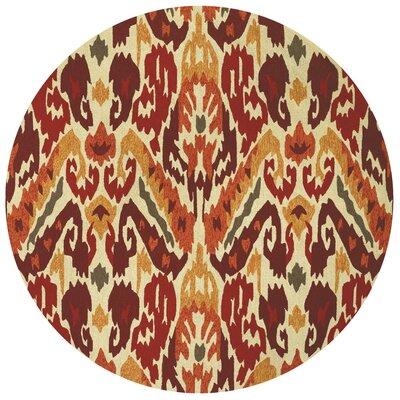 Delfzijl Hand-Woven Red/Beige Indoor/Outdoor Area Rug Rug Size: Round 710