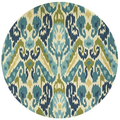 Charlot Hand-Woven Green/Blue Indoor/Outdoor Area Rug Rug Size: Round 710