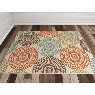 Douane Beige/Blue Indoor/Outdoor Area Rug Rug Size: 25 x 45