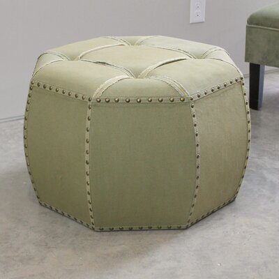 Fateh Octagonal Button Tufted Ottoman Upholstery: Sage
