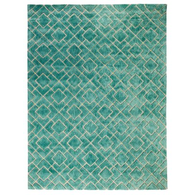 Karolinka Hand-Tufted Royal Turquoise Area Rug Rug Size: 8 x 10