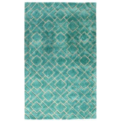 Karolinka Hand-Tufted Royal Turquoise Area Rug Rug Size: 5 x 8